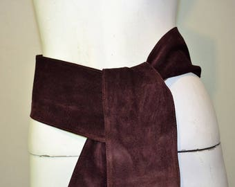 vintage Extra wide suede sash. By Maureen Elaine oxblood red burgundy wine.  One size