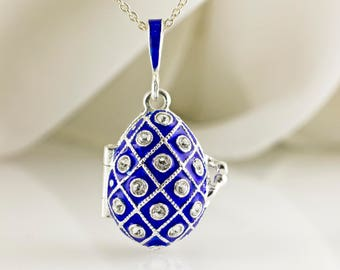Jewelry Locket Necklace Sterling Silver Blue Enamel Egg Pendant Net, Locket w Guardian Angel Faberge Style Egg  Gift For Her Wedding Jewelry