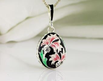 Flower Jewelry Necklace Pink Cornflower on Black Pendant Sterling Silver Enamel Egg Pendant Flower Necklace Enamel Jewelry Gift For Her