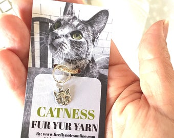 Cat head stitch marker, 10 mm snag free or removable project keeper