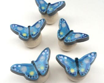 Blue Butterfly, Knob Drawer Pull, Butterfly Knob, Blue Drawer Pulls, Bedroom knobs, Kitchen Cabinet Knob, Cabinet Pulls, Dresser Drawer Knob
