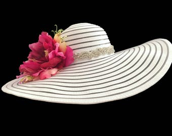 "Kentucky Derby Hat, Bridal Tea Party Hat, Women's Floppy Wide Brim Sun Hat, Spring Fashion Hat in White and Tonal Pink is - ""Simply Perfect"""