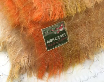 Vintage 100% Mohair Woven Wool Blanket, Made in Scotland, Orange/Cream/Yellow Plaid Design, Fringed Edges