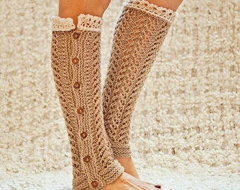 Knitting Pattern (pdf file) Instant Download - Knit Lace Leg Warmers