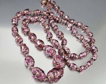 Antique Czech Glass Beads Necklace | Amethyst Purple Foil Glass Bead Art Deco Necklace | Long Glass Beads Necklace | Bohemian Glass Beads