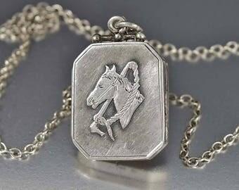 Antique Silver Equestrian Locket Necklace | Victorian Locket | Horse Necklace Engraved Locket | Animal Necklace | Keepsake Locket