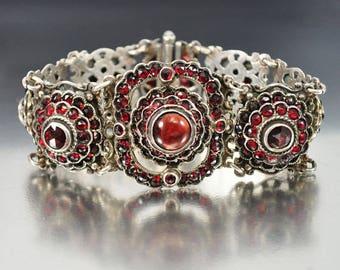Antique Bohemian Garnet Bracelet | Austro Hungarian Bracelet | Victorian Silver Statement Bracelet | Antique Bracelet | January Birthstone