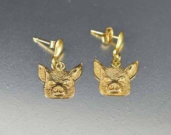 Vintage Gold Pig Earrings | Whimsical 9K Gold Dangle Animal Earrings | Vintage Animal Jewelry | Dainty Figural Pierced Earrings