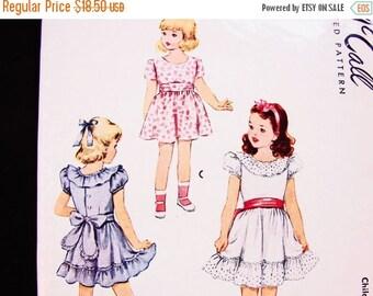 on SALE 25% Off 1940s Dress Pattern size 6 Girls Back Button Ruffle Party Dress Pattern Vintage Sewing Pattern 40s