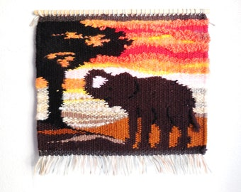 Hand Woven Tapestry...Elephant Resting In the Shade...Wall Hanging Tapestry...Home Decoration...Unique Hand Woven Wall Decor