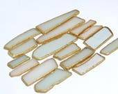 Geometric SEA GLASS with a golden trim Lot of 16 pieces / For crafts and jewelry / R72