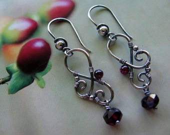 Sterling Silver Earrings, Garnet Dangle Earrings, Handmade Sterling Silver Jewelry, Wire Wrapped Earrings