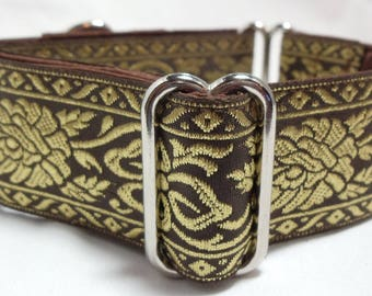 Gold on Brown Jacquard Ribbon Galgo, Greyhound, Whippet, Saluki, Borzoi, Pit Bull, Dog, Doberman Martingale Collar