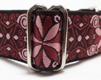 "1.5"" Pink and Burgundy Jacquard Ribbon Martingale Collar"