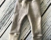 Wool Interlock Longies - Medium - Gray - Cuffed