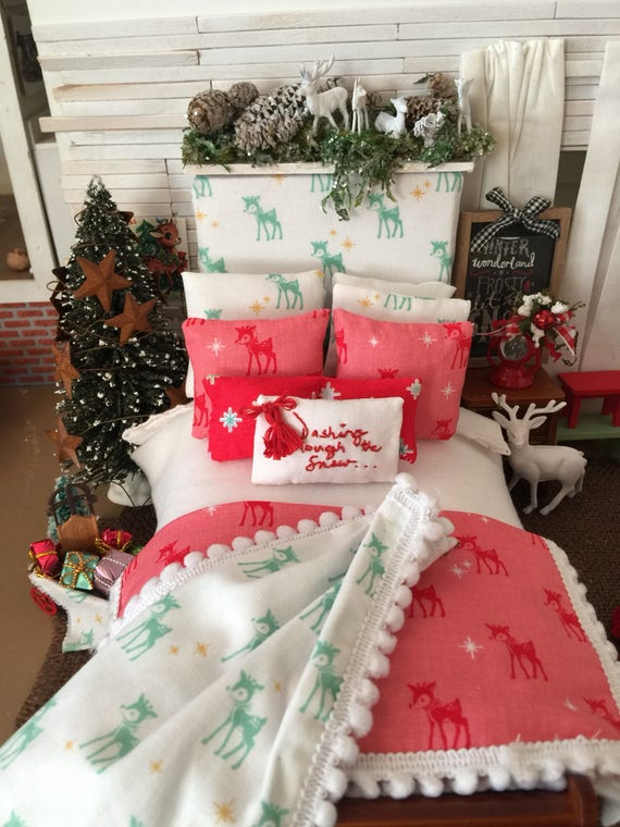 Miniature Dollhouse Christmas Reindeer Bedding, Headboard and Wooden Sleigh Bed- 1:12 scale One of a Kind