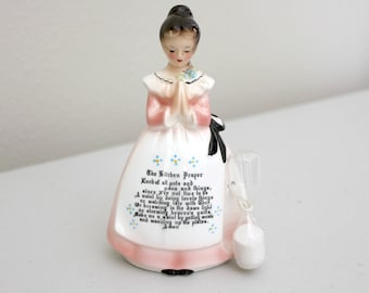 Prayer Lady Kitchen Timer, Vintage Enesco Japan Figurine, 1950s Kitchen Praying Girl