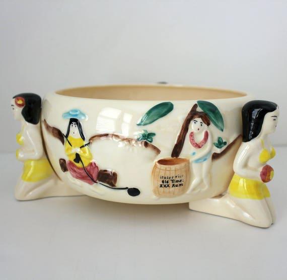 Vintage Trader Vic'c Hawaiian Bowl, Hawaii Footed Centerpiece Console Dish, Hula Girls