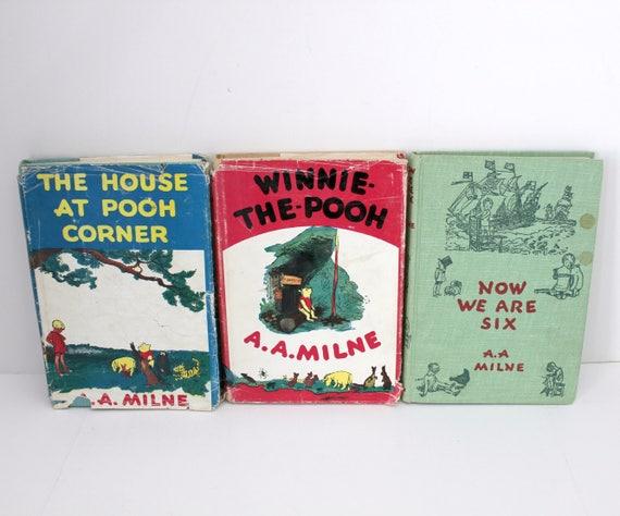 3 Vintage A. A. Milne Winnie The Pooh Books, HB DJ 1950 Pressings