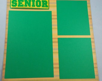 Senior Year, Pre-Made Scrapbook Album Page, 8x8, Quick Page, School Page, Will work on a 12x12 page