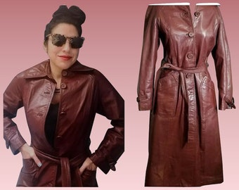 Vintage 70s Dark Red LEATHER Mod Spy Hippie Chic TRENCH COAT - 1970s