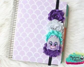 Baby headband or Planner band { Sea Witch } Octopus, black purple glitter princess, villian elastic baby headband, happy planner