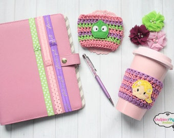 Tower Princess Coffee Cup Cozy { Rapunzel & Pascal }  tangled, lizard inspired, park essential, knit mug sweater, paper clip, planner band