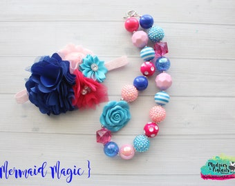 Toddler Chunky Necklace or headband { Mermaid Magic } blue, pink turquoise beach birthday, under the sea, cake smash photography prop