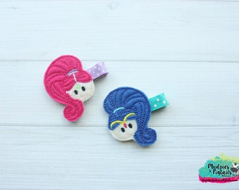 Princess Genie { Shimmer & Shine } First Birthday, Baby Hair Clip, party favors Barette, toddler Hair Bow No Slip