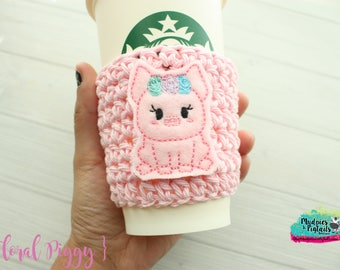 Animal Cup Cozy { Floral Pig } pink piggy, spring, easter, farm crochet coffee sleeve, knit mug sweater, starbucks gift, frappuccino holder