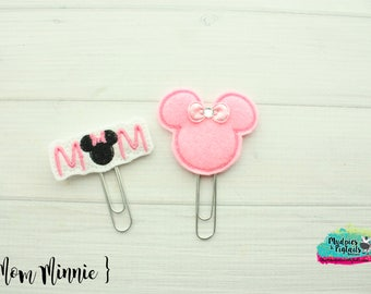 Mouse Ears Hair Clippies or Planner clips  { Mom Minnie }  Choose style, birthday, vacation bow Hair Clip, Barette, No Slip