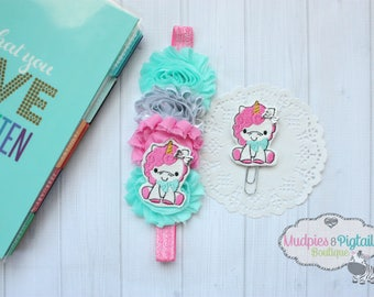 Planner band or paper clip { Sitting Unicorn } pink glitter, aqua silver, magical, coffee cozy, crochet bookmark, bible band