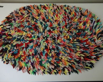 VINTAGE COLORFUL polyester scrap fabric RUG