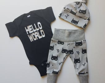 Baby Boy Take Home Outfit. Hello World Batman Mask. Organic Leggings. Bring Home Baby Outfit. Boy Coming Home Outfit. Superhero Baby Outfit.