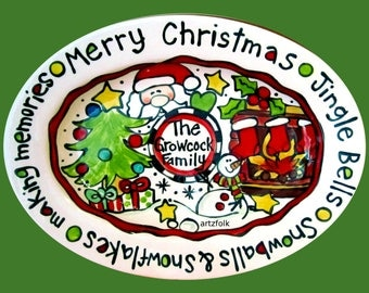 Custom traditions Christmas story art large or extra large ceramic oval personalized name family platter
