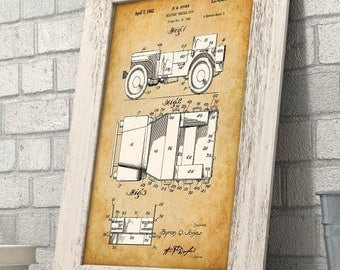 Vintage Willys Jeep Patent - 11x14 Unframed Patent Print - Great Gift for Jeep Owners