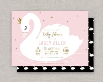 Swan Baby Shower Invitation