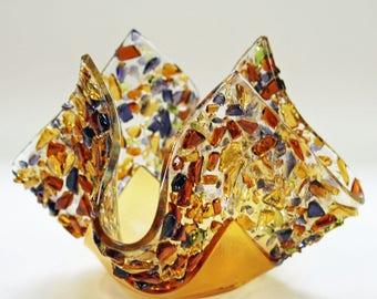 Glassworks Northwest - Votive Amber - Fused Glass Candleholder