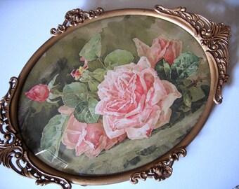 Roses, Print, Paul de Longpre, Filigree, Antique Frame, Convex, Bubble, Glass, Art, Print, Shabby Chic, Vintage, Half Yard Long