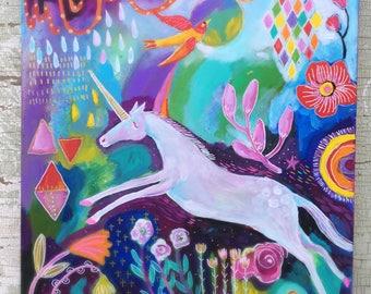 Abstract Unicorn Painting on Cradled Wood Panel