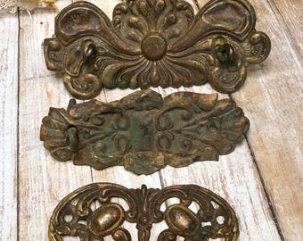 Vintage Ornate Furniture Hardware Salvaged Drawer Pulls- Thin Metal Distressed Patina- Altered Art Supply Dresser Hardware- A46