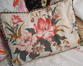 Lush POPPY BARKCLOTH PILLOW Sham Cover Pink Rose Gray Swirls Deep Green Leaves Piping Vintage Texture Cotton Retro Floral Back Comfy 19 x 26
