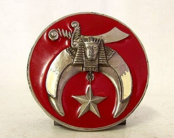 Vintage Shriners Belt Buckle Round Red Star Sword Freemason Mason Organization