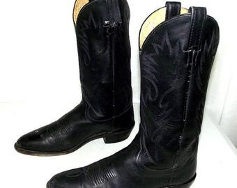 Black  on black leather Dan Post brand cowboy boots size 8.5 D or womens sz 10