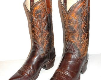 Mens 8 EE Texas Cowboy Boots Wide Width Distressed Western Rockabilly Country