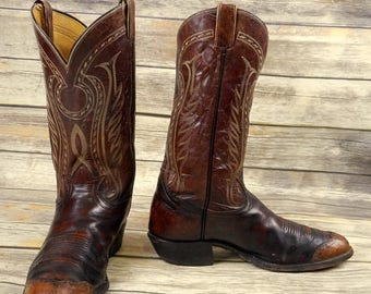 Mens 11 D Cowboy Boots Tony Lama Brown Leather Wingtips Distressed Rockabilly