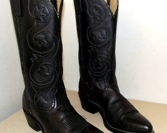 Rockin' Black Leather cowboy boots size 9.5 D or cowgirl size 11