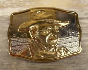 John Wayne Belt Buckle Man Of the Golden West 1985 New England Mint Western Vintage