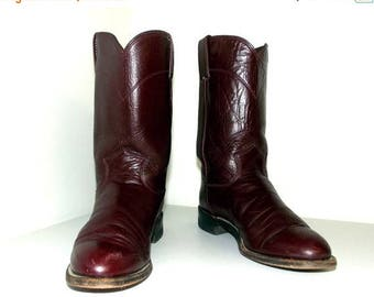 Burgandy Wine Leather Roper style Justin cowboy boots size 7 B