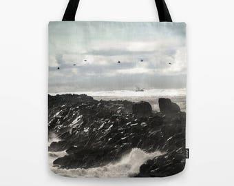 Pelican Tote Bag, Oregon coast photography, beach, fishing gift, fisherman's wife, South Jetty, coastal art, nautical fashion, women gift